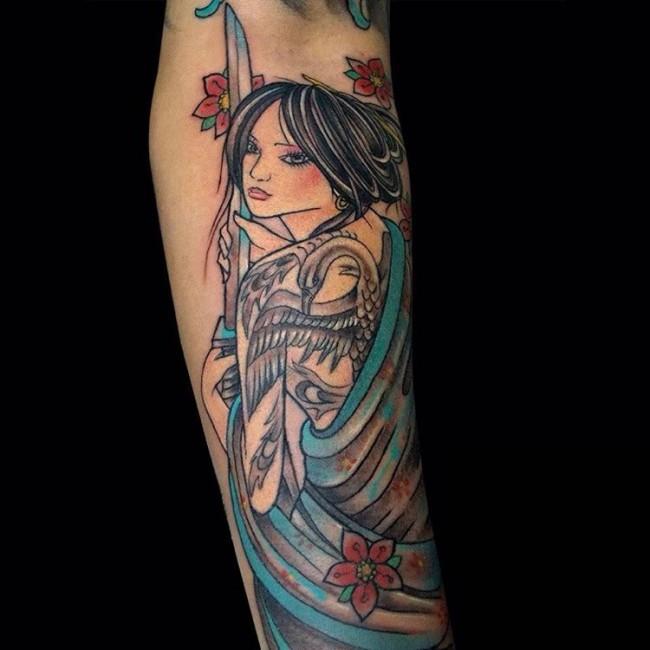 old school手臂五彩的美丽亚洲艺妓纹身图案