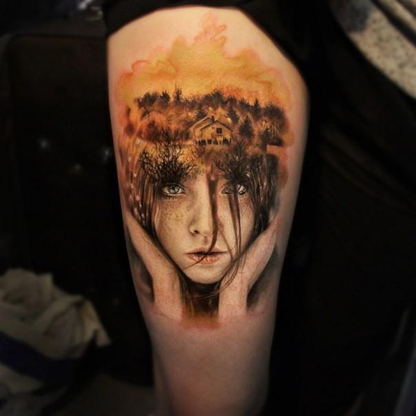 大腿插画风格可爱的女孩与森林纹身图案