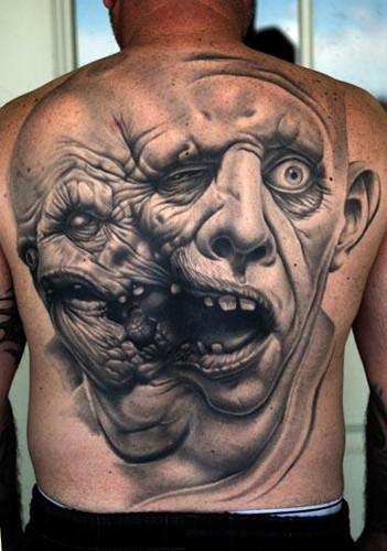 背部恐怖电影的黑灰双头怪物纹身图案