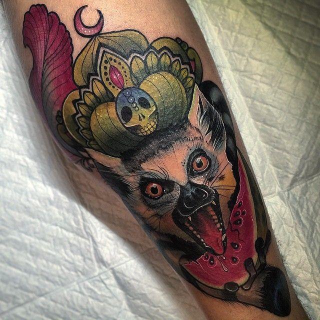 哭泣的狐猴和西瓜彩色纹身图案