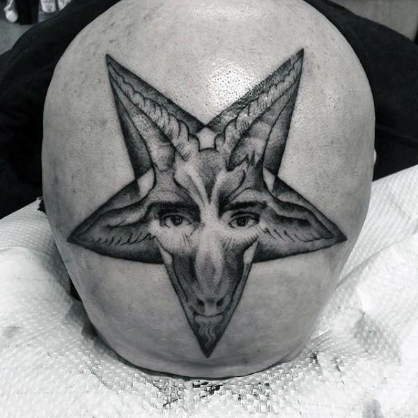 头部点刺风格黑色星星与魔鬼脸纹身图案