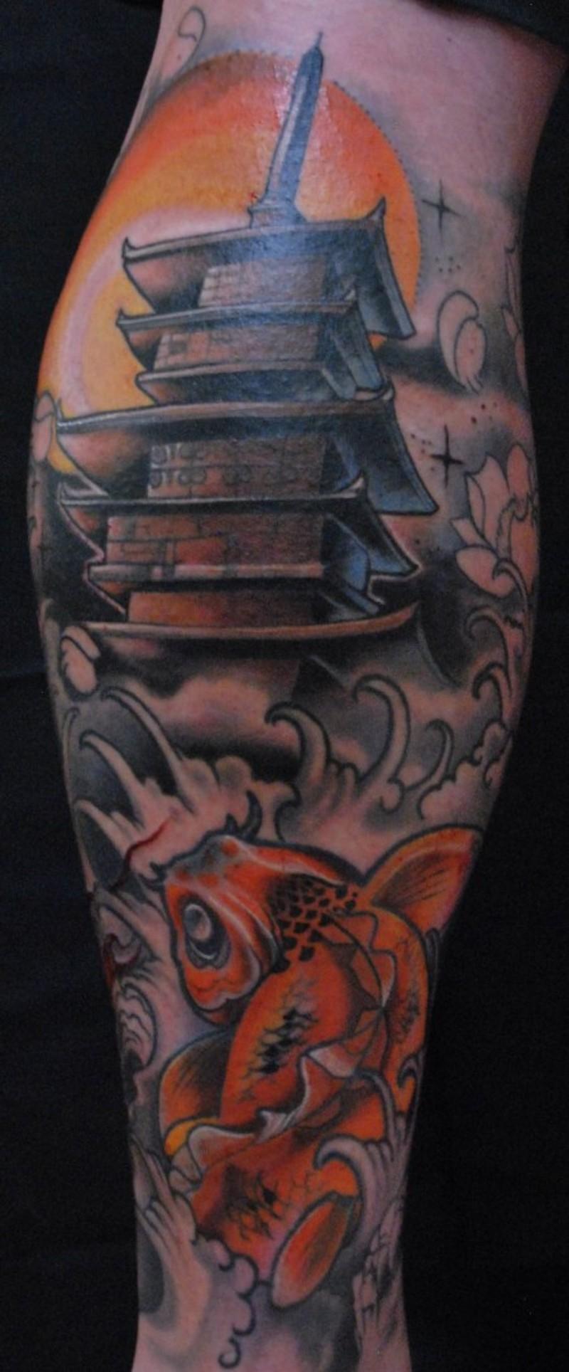 小腿漫画风格彩色的寺庙与鲤鱼纹身图案