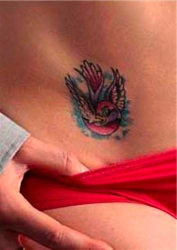 腹部五顏六色的飛行鳥紋身圖案