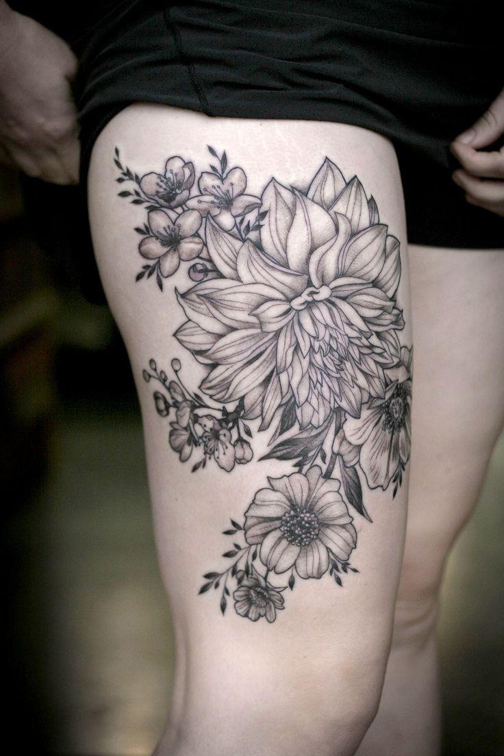 大腿黑色大麗花植物紋身圖案