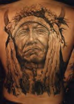 满背印度首席肖像纹身图案