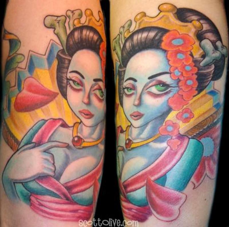 娃娃风格彩绘诱人女子纹身图案