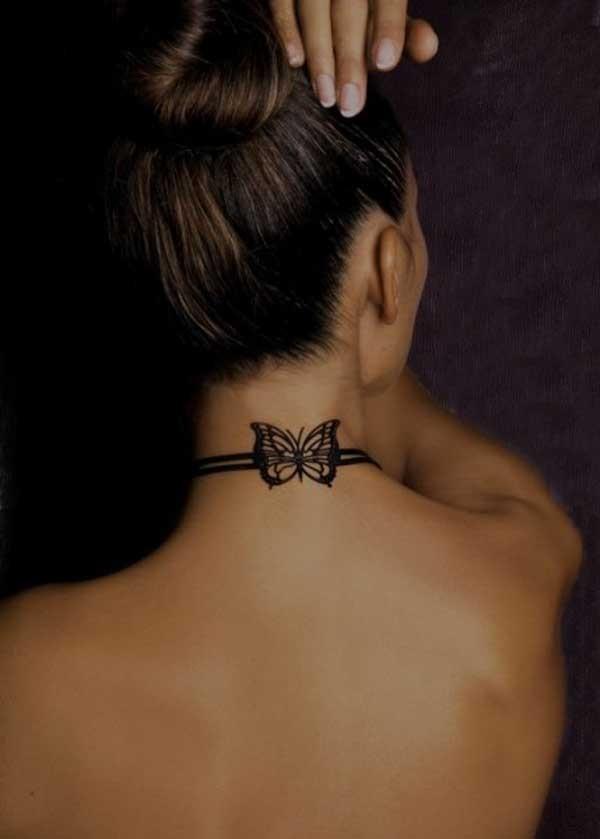 颈部优雅的黑白蝴蝶纹身图案
