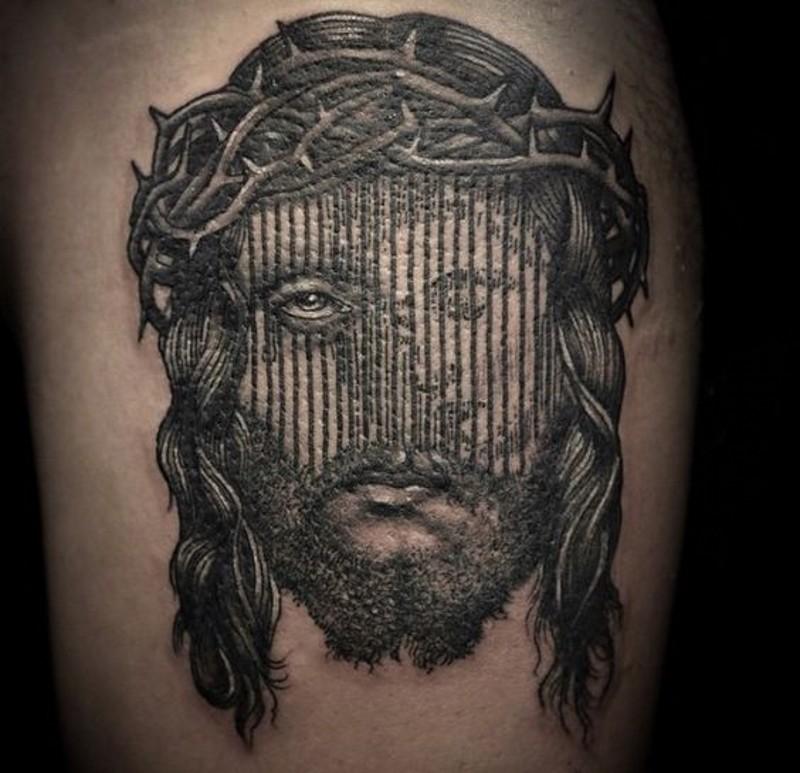耶稣黑色肖像大腿纹身图案