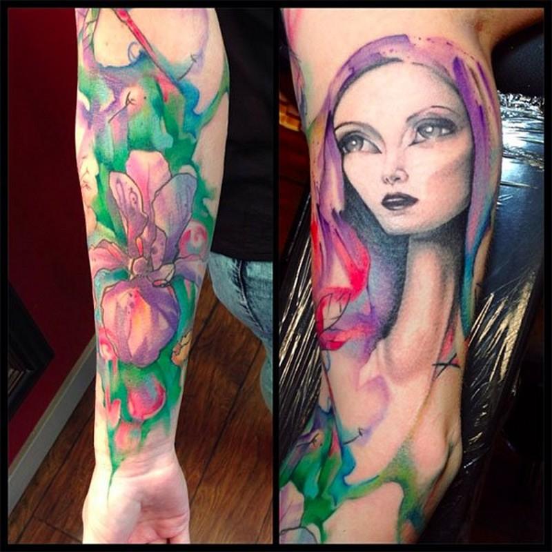 小臂水彩花朵和女人肖像纹身图案