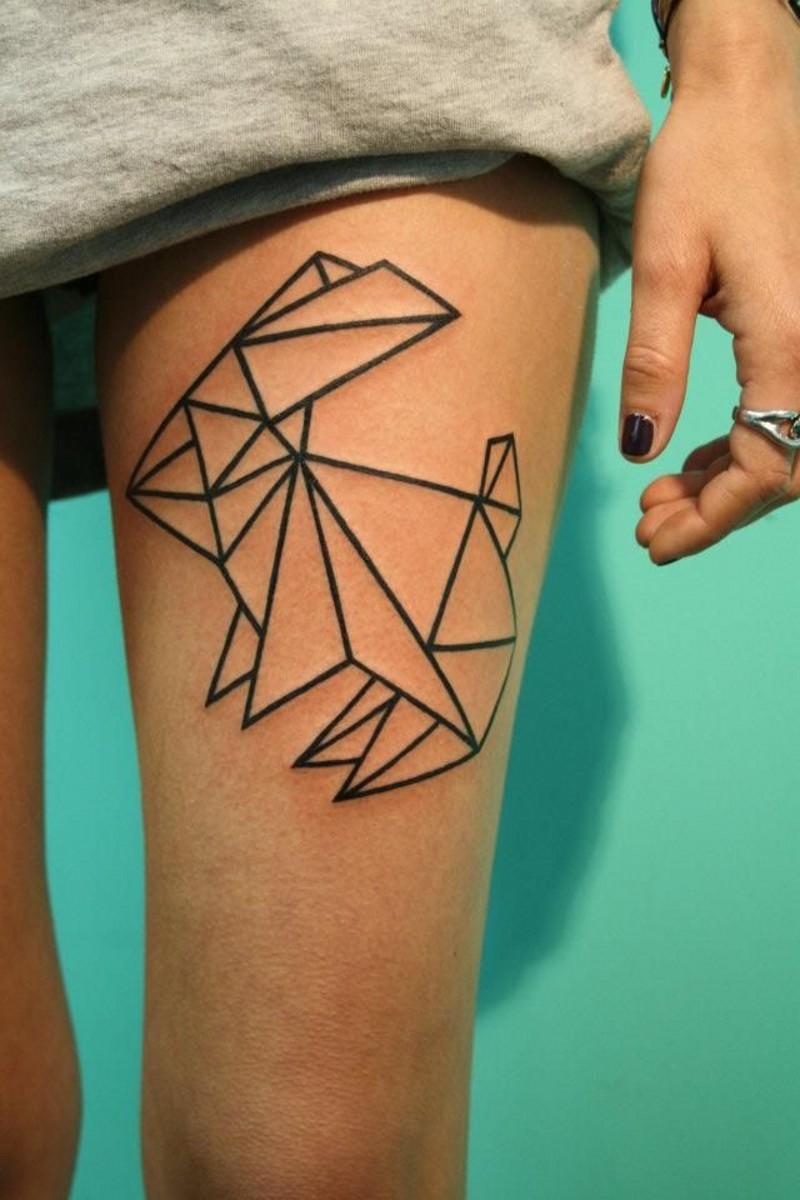 可愛的黑色線條幾何兔子紋身圖案
