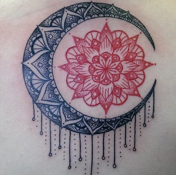 可愛的黑色和紅色太陽月亮梵花紋身圖案