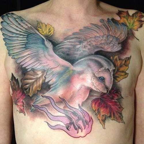 胸部可爱的七彩猫头鹰纹身图案