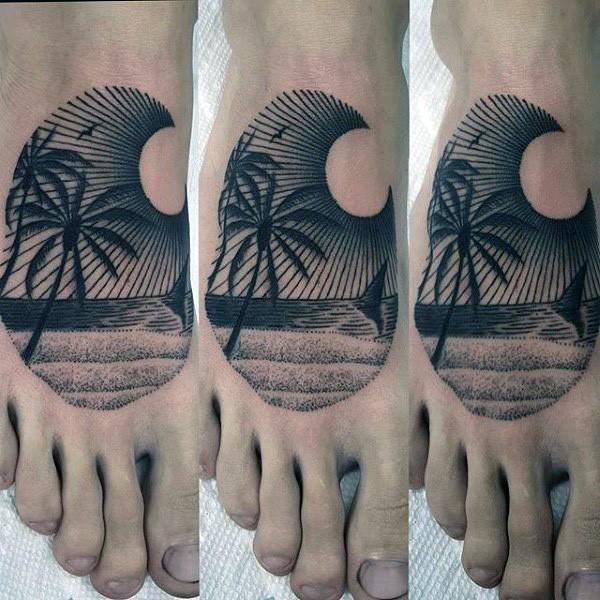 脚背海岸风景与棕榈树纹身图案