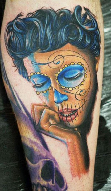 可爱的黑头发死亡女郎纹身图案
