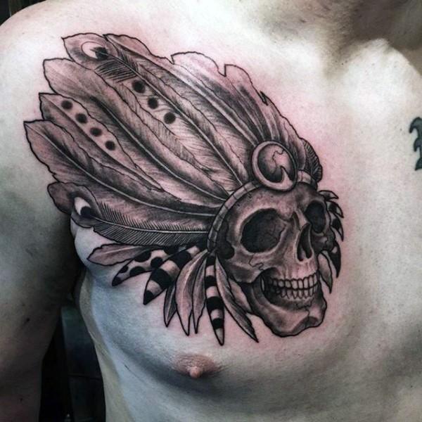 胸部雕刻风格黑色古老印度骷髅纹身图案