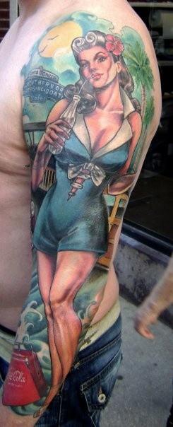 手臂亚洲风格的彩色性感女孩纹身图案