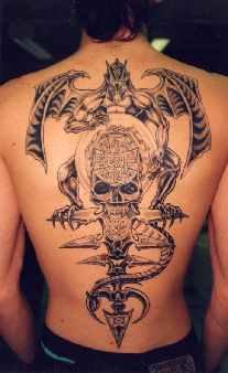 背部恶魔与骷髅黑色纹身图案