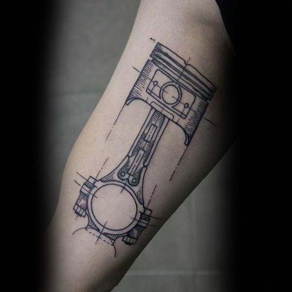 简单的素描风格黑色汽车活塞手臂纹身图案