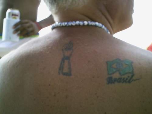 背部阿根廷国旗彩色纹身图案