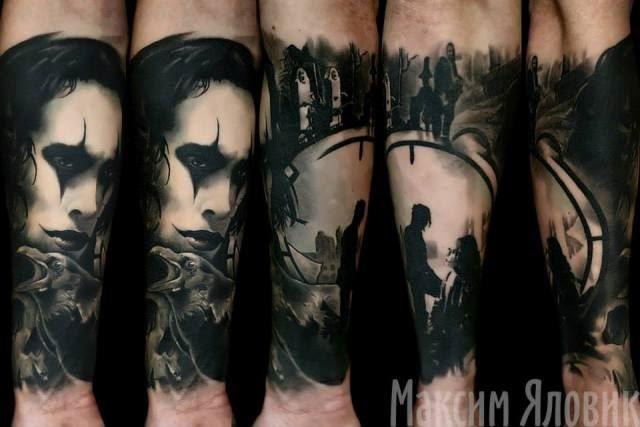 小臂插画风格黑色乌鸦人像纹身图案