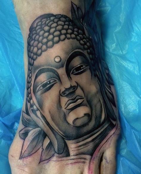 脚背黑色印度教如来佛祖雕像纹身图案
