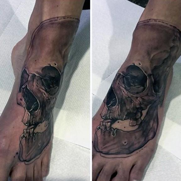 个性的脚背黑色骷髅纹身图案