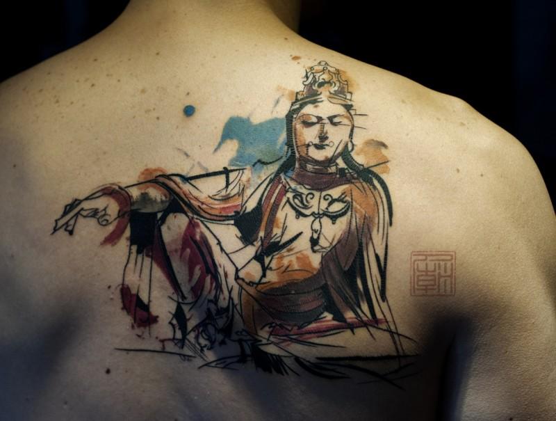 背部黑色线条水墨风格佛像纹身图案