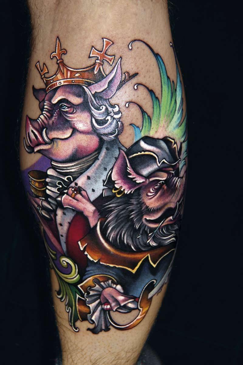 搞笑的卡通彩色幻想猪王纹身图案