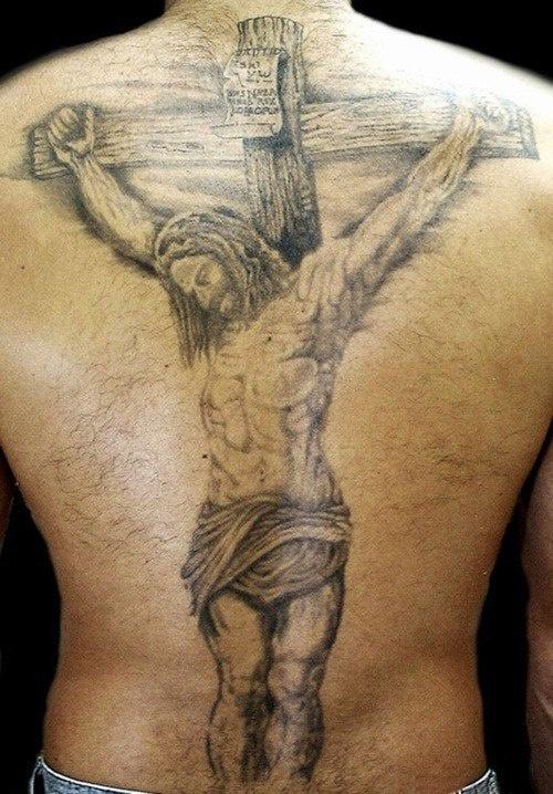 背部耶稣被钉死在十字架纹身图案