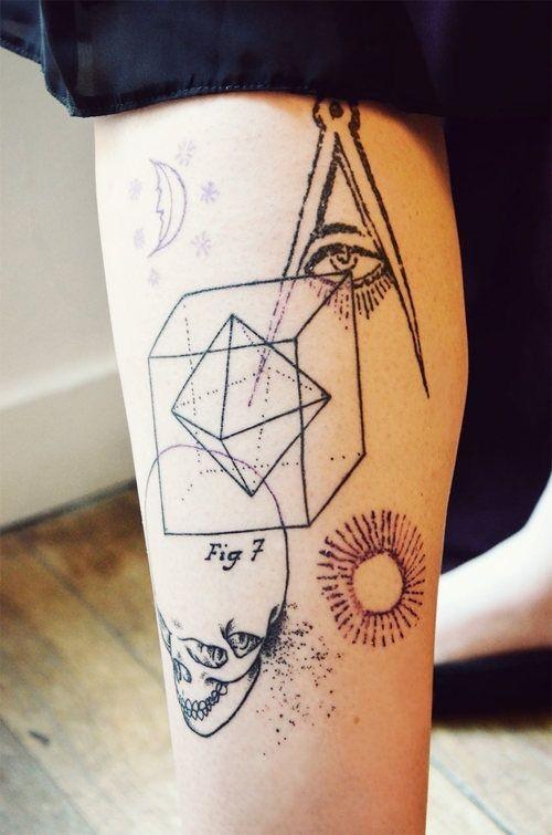 黑色線條眼睛骷髏幾何紋身圖案