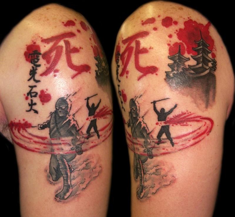 大臂亚洲主题色的血腥战斗与汉字纹身图案
