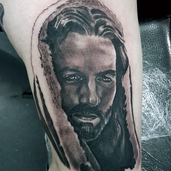 宗教风格黑白耶稣肖像大腿纹身图案