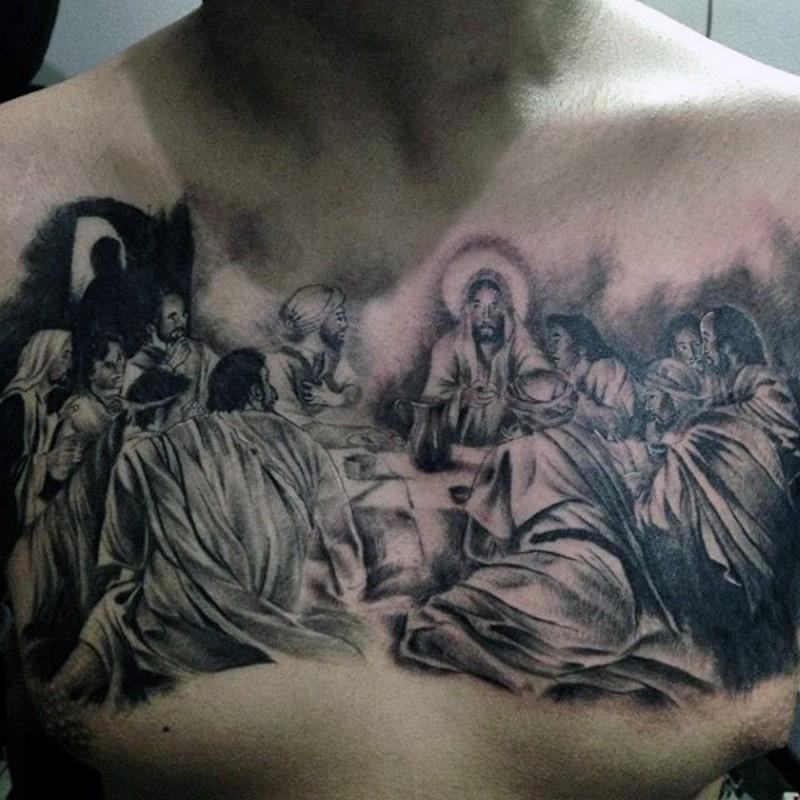 胸部黑色宗教主题人物纹身图案