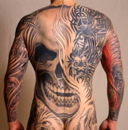 滿背可怕的骷髏紋身圖案