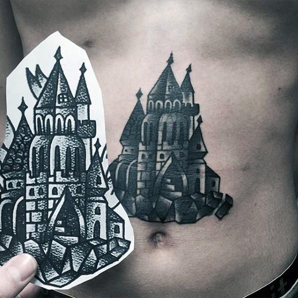 腹部old school黑白童话城堡纹身图案