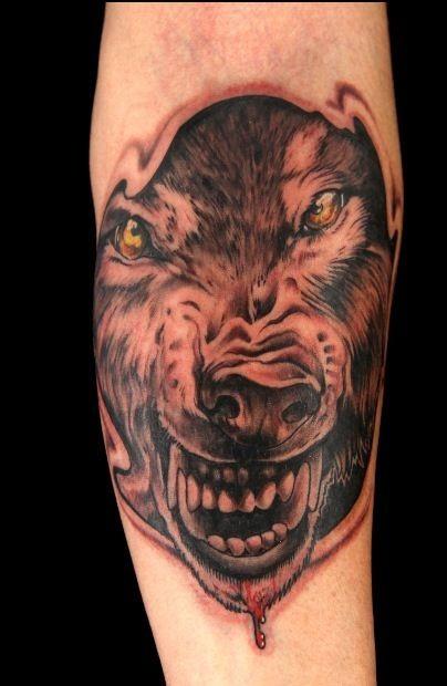 手臂黑灰風格狼與黃色眼睛紋身圖案