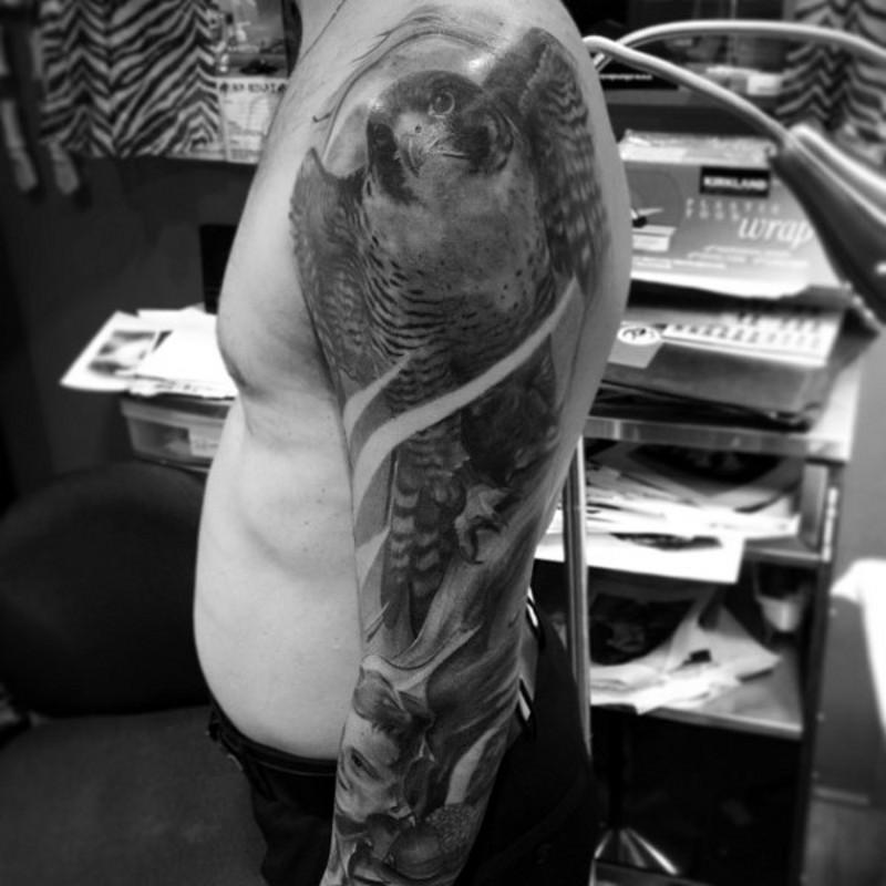 手臂逼真寫實風格壯觀的鷹紋身圖案