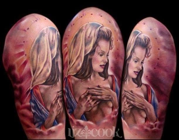 大臂美丽的彩色性感裸体女人纹身图案