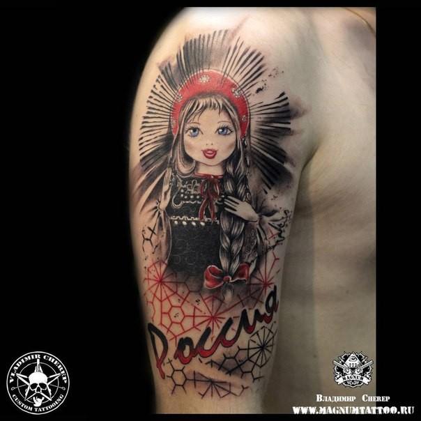 大臂插画风格色漂亮的女孩字母纹身图案