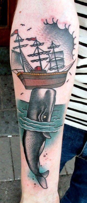 手臂old school鲸和帆船纹身图案