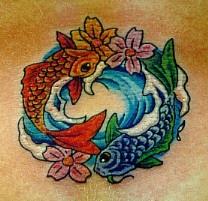 美丽的鱼阴阳设计纹身图案