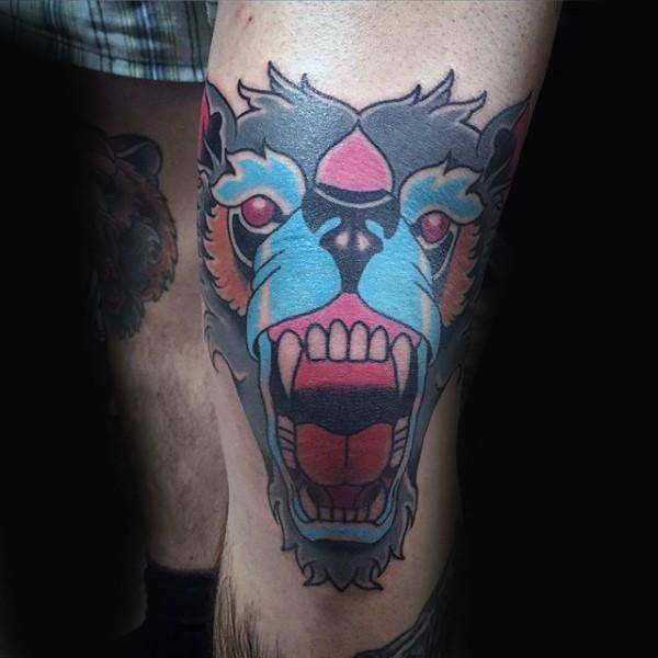 膝盖old school彩色邪恶猴子头部纹身图案