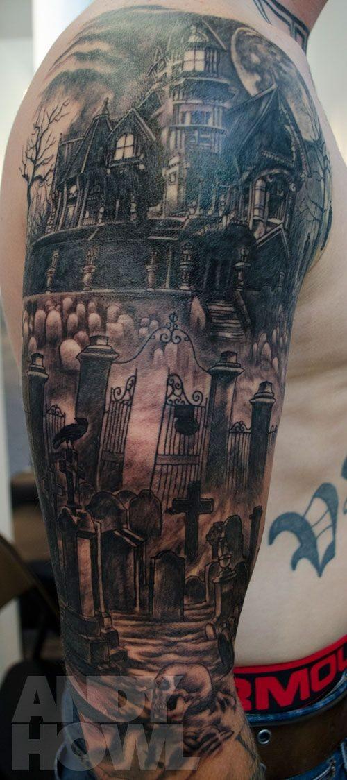 手臂令人毛骨悚然的房子与墓地骷髅纹身图案