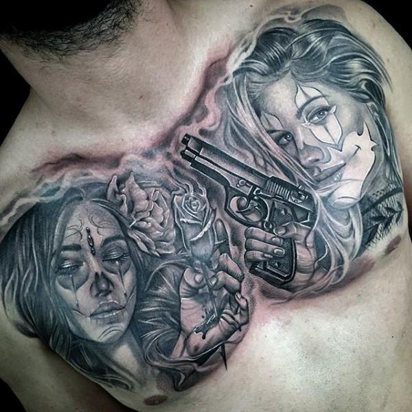 小臂墨西哥传统风格黑色女性肖像和手枪纹身图案
