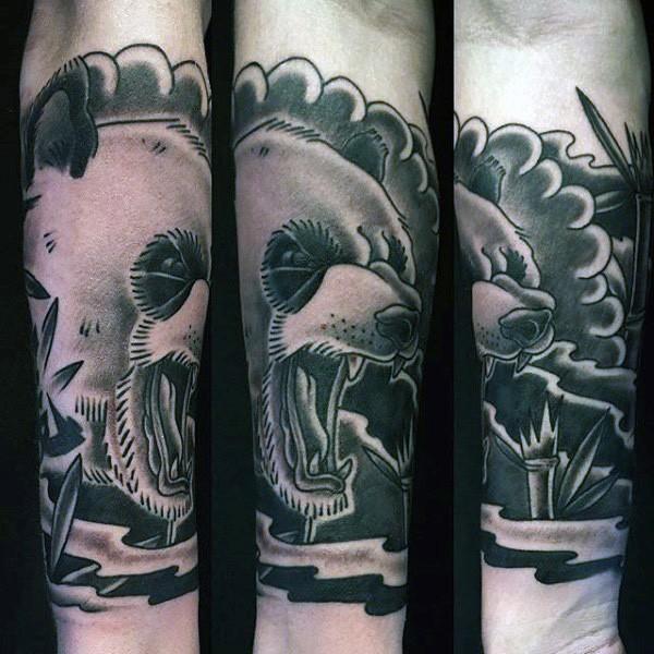 手臂插畫式彩色邪惡熊貓紋身圖案
