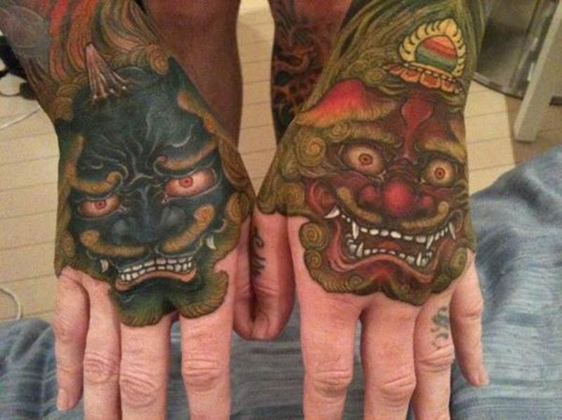 手背漂亮的五彩各种亚洲恶魔纹身图案