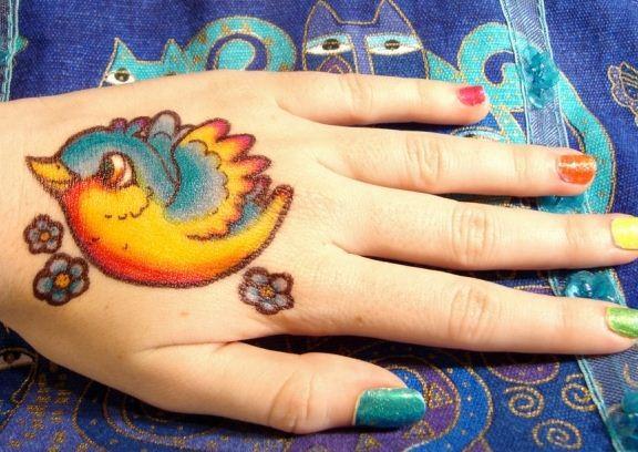 手背鲜艳的颜色小鸟纹身图案