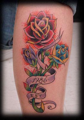 玫瑰图文腿部纹身