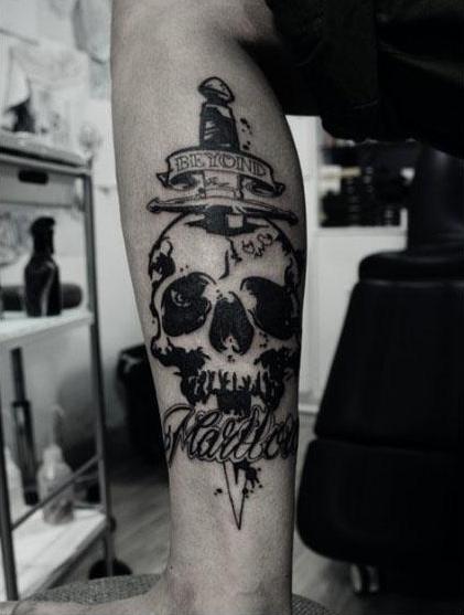 男士霸气小腿纹身