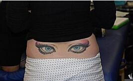 个性搞怪臀部纹身